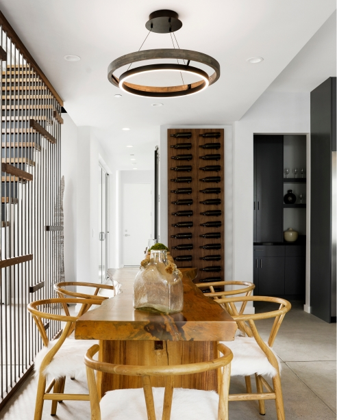 Grace 30 Chandelier, Matte Black, Weathered Oak WoodDesigner: Tristan Martin of Martinko Studio