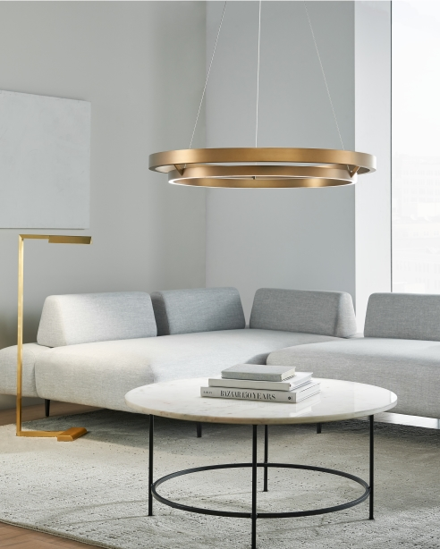 Grace 36, Aged Brass<BR>Dessau 46 Floor Lamp, Natural Brass
