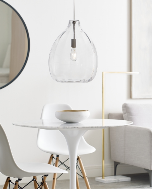 Harper Pendant, Clear<br>Klee 43, Natural Brass/White Marble