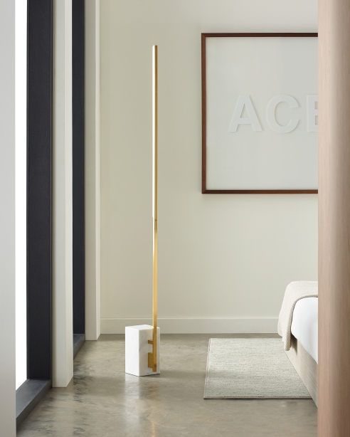 Klee 70 Floor Lamp Natural Brass/White Marble