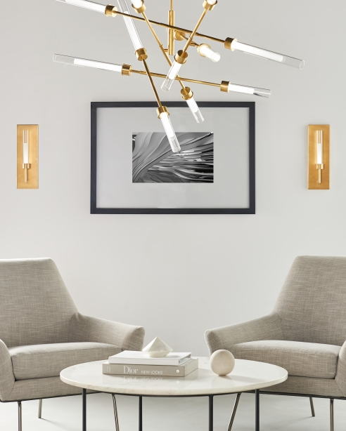 Linger 12-Light Abstract, Natural Brass<BR>Linger Wall, Natural Brass