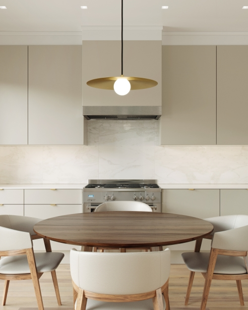 Pirlo Pendant: Aged Brass<br>Essence: Surface 0604 <br> Element Recessed: Flangeless, White Square Bevel Trim